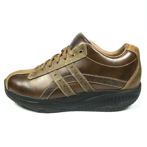 Skechers Shape Ups Brown Leather Toning Sneakers